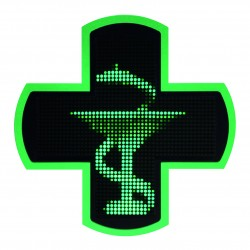 Einfarbiges grünes elektronisches Apothekenkreuz Led 3D 97,5cm x 97,5cm